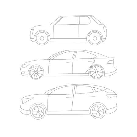 Set of modern electric cars silouettes. A sedan, off-road vehicle and a two-door small car. Black-and-white line contour Illustration
