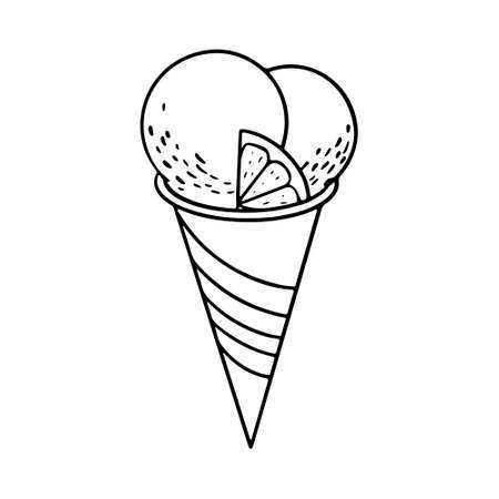 Hand drawn doodle ice cream balls with citrus piece in crispy waffle cone. Sketch vector illustration for cafe menu, card decoration.
