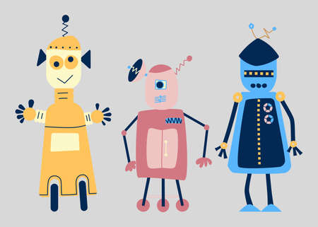 Funny friendly robots. Cute retro cartoon toy humanoids with programmed intelligence isolated on grey background . Vector illustration Ilustración de vector