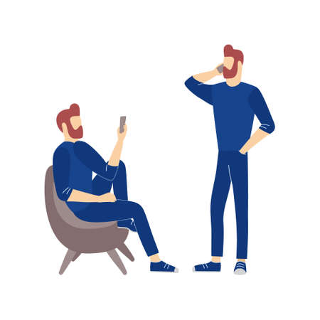 Men make conversation or videocall by mobile telephone. Communication and conversation with smartphone vector illustration of phone call, texting, talking and chatting