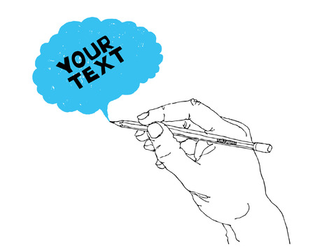 cartoon pencil: Hand drawing speech bubble