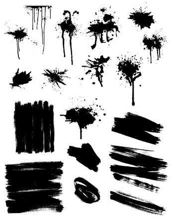 paint drip: Set of black splashes and brush strokes