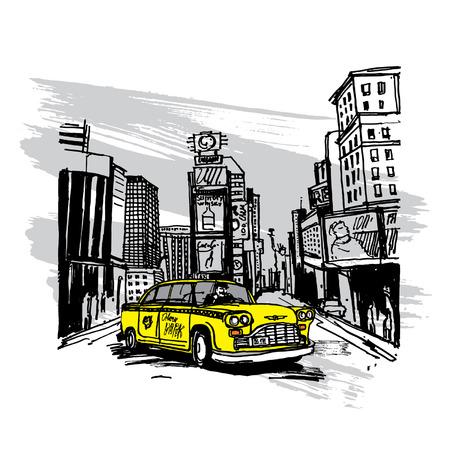 Taxi amarillo en Nueva York Ilustración de vector