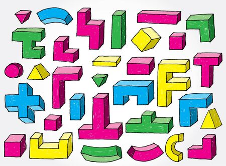 tetris: Set of 3D Elements Colourful Hand Drawn