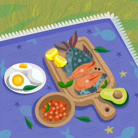 Fish outdoor picnic with keto diet products 向量圖像