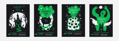"""Halloween party posters invitations set in minimalism duo tone style, good for typography print. Template layout of invite with lettering title - """"Halloween Party"""" and hand drawn vector illustrations"""
