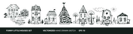 Set of Houses in hand drawn doodle style. Street with different types of houses - cottage, mansion, hut, cabin, chalet. Vector illustration with white isolated background. Vettoriali