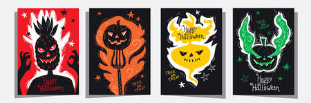 Happy Halloween Jack o lantern invitation greetings cards set with head of pineapple, traditional pumpkin and turnip. Duo tone color template, good for typography print, flyer, card, poster. Vector