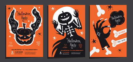 Halloween party posters invitations set of template with ghost pumpkin, haunted Jack and scary zombie hand with bones. Vector illustration. Good for invite, poster, flyer, card, topography print 矢量图像