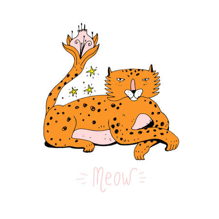 Cute cartoon leopard in doodle style. Funny charismatic animal character with flower tale. Good for greeting card or poster for nursery or kids room, t-shirt or design. Vector illustration