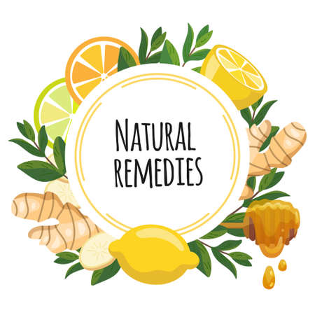Natural remedies frame banner. Lemon, ginger, honey, mint for cough remedy. Home treatments for flu, viruses and ache. Vector Illustration of natural medicine and boost immunity.