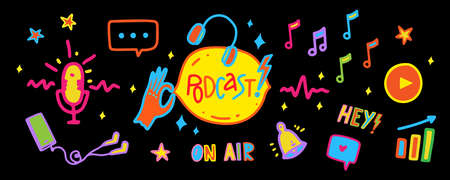 Podcast web banner with vibrant neon elemets of podcast stage on black background. Vector illustration in doodle cartoon style with hand drawn icons.
