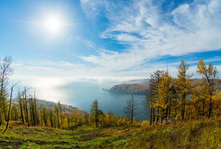 on lake: lake Baikal, stone