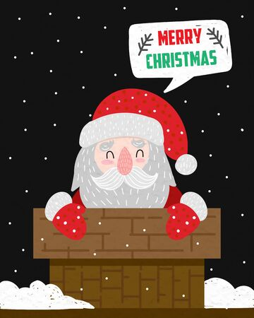 New Year and Christmas 2020. Santa on the roof. Vector illustration