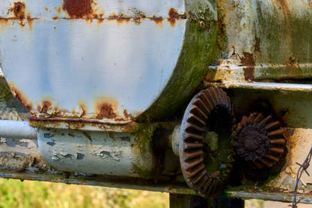Old rusty gears in the lifting mechanism