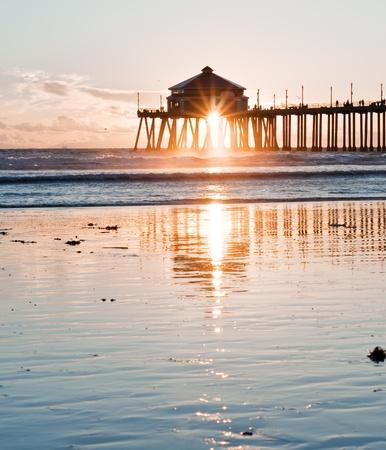 Huntington Beach Pier Sunburst photo