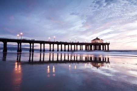 Manhattan Beach Pier Nightfall Stock Photo - 11027708