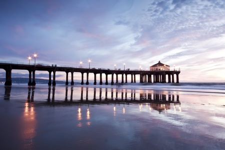 Manhattan Beach Pier Nightfall 版權商用圖片