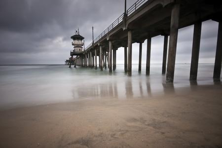california beach: Huntington Beach Pier Long Exposure Stock Photo