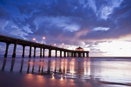 Manhattan Beach Pier Colorful Sunset photo