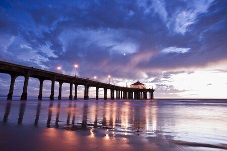 california beach: Manhattan Beach Pier Colorful Sunset