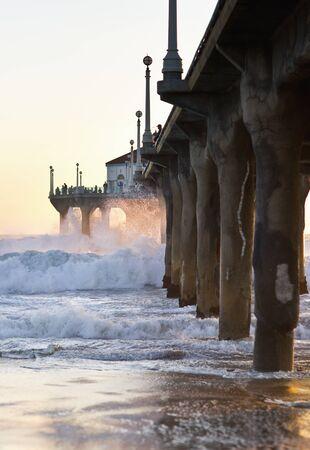 Wave Crashing Into Manhattan Beach Pier