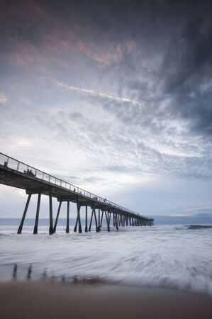 hermosa beach: Hermosa Beach Pier Stormy Sunset