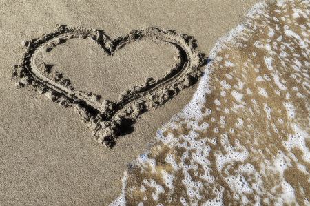 Heart which is drawn on sea sand photo