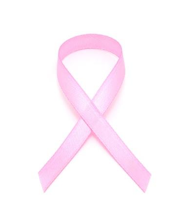 pechos: Luz rosa del c�ncer de mama conciencia cinta sobre un fondo blanco.