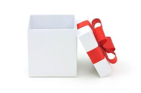 gift box open: Open empty gift box and red bow  Isolated  Stock Photo