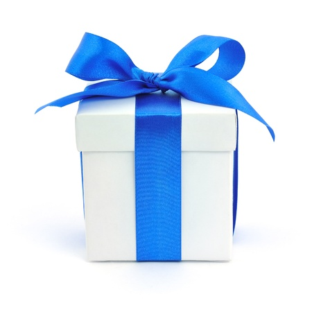 blue ribbon: White gift box with a blue bow on white background