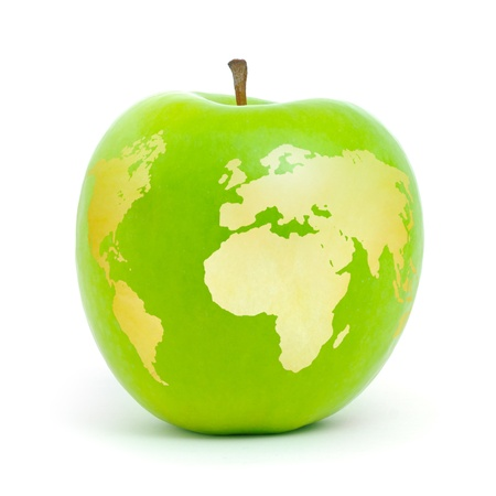 Green apple world map on white background. photo