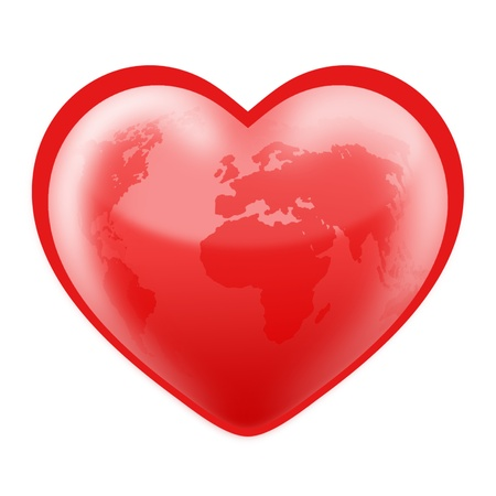 Planet Earth in the shape of a heart. Stock Photo - 14517689