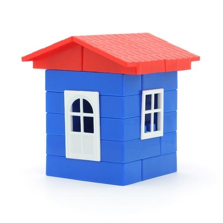 plastic bricks: House made of plastic bricks  Isolated on white background