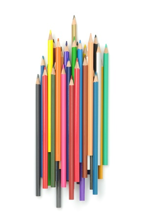 A group of multicolored pencils isolated on white. Stock Photo - 16747308