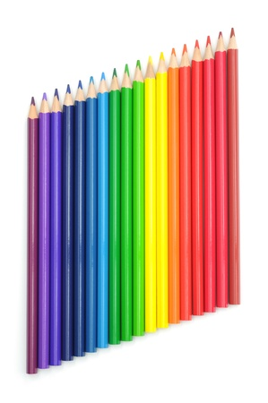 A group of multicolored pencils isolated on white. Stock Photo - 16747299