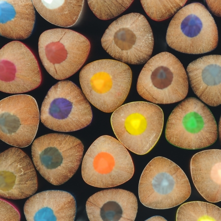 Group of different coloring pencils with selective focus. Stock Photo - 16747304
