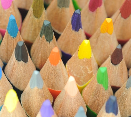 Group of different coloring pencils with selective focus. Stock Photo - 16747303
