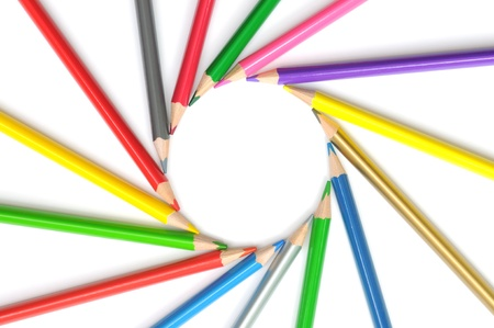 Circle from color pencils  It is isolated on a white background Stock Photo - 16901933