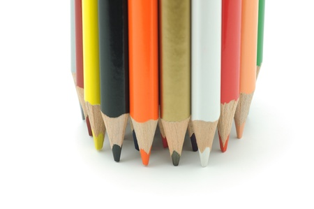 Bunch of colored pencils isolated on a white background Stock Photo - 16928419