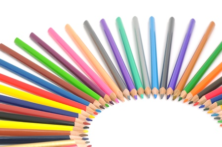 Circle from color pencils. It is isolated on a white background Stock Photo - 16928420
