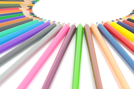 Circle from color pencils. It is isolated on a white background Stock Photo - 17033131