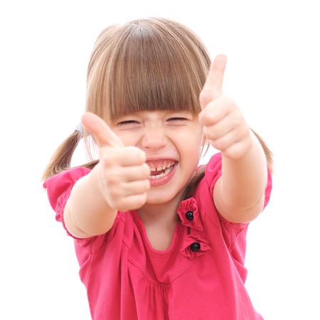 Mädchen zeigt OK-Zeichen isoliert auf weiß Standard-Bild - 23547885