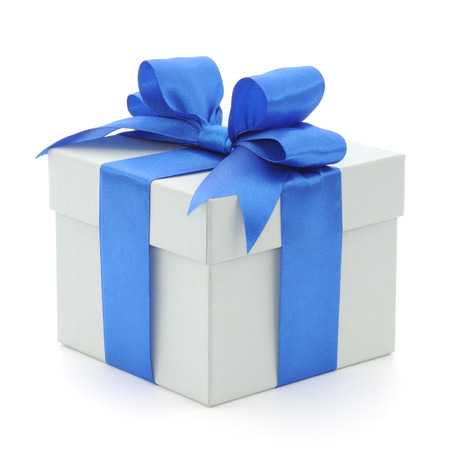 Grey gift box with blue bow on white background