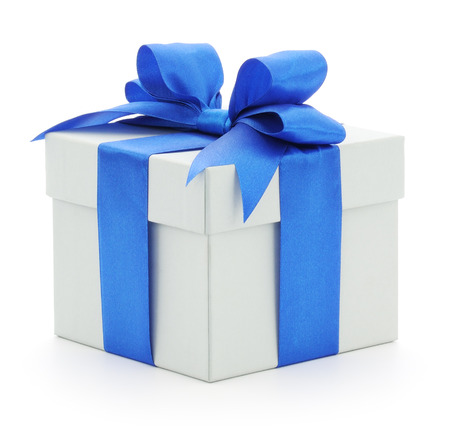 White gift box with blue bow on white background