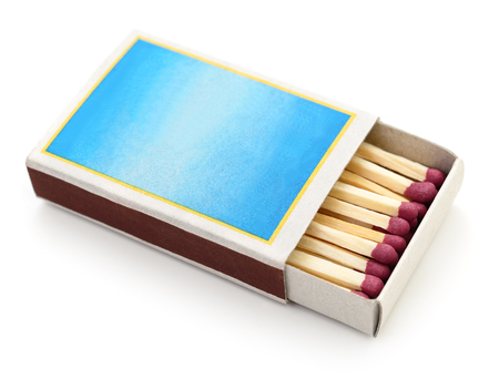 matchbox: Matches in a matchbox on white background.