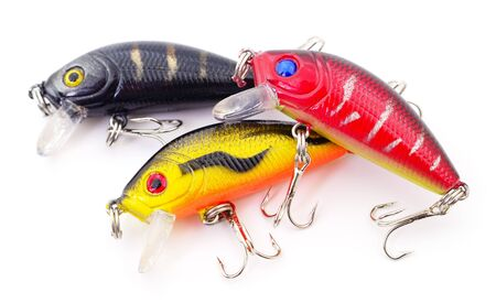 Bait for fishing - woblers isolated on white background.
