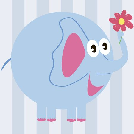 blue elephant holding a flower Vector