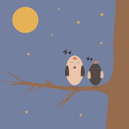 cartoon sparrows sleeping on the tree at night