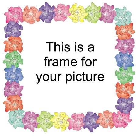 flower frame, with flowers in a circle